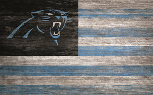 "Carolina Panthers Distressed Flag Sign - 11""x19"""
