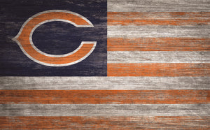 "Chicago Bears Distressed Flag Sign - 11""x19"""
