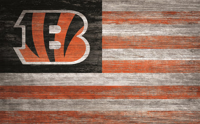 Cincinnati Bengals Distressed Flag Sign - 11