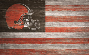 "Cleveland Browns Distressed Flag Sign - 11""x19"""
