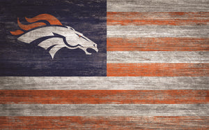 "Denver Broncos Distressed Flag Sign - 11""x19"""