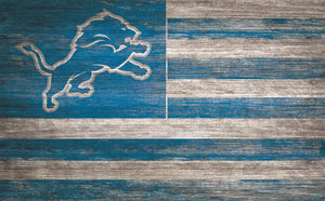 "Detroit Lions Distressed Flag Sign - 11""x19"""