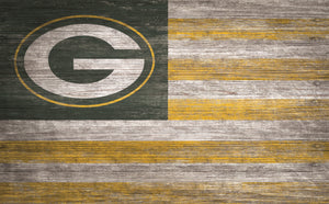 "Green Bay Packers Distressed Flag Sign - 11""x19"""