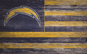 "Los Angeles Chargers Distressed Flag Sign - 11""x19"""