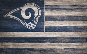 "Los Angeles Rams Distressed Flag Sign - 11""x19"""
