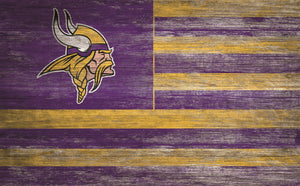 "Minnesota Vikings Distressed Flag Sign - 11""x19"""