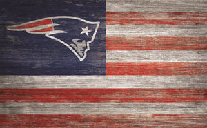 "New England Patriots Distressed Flag Sign - 11""x19"""