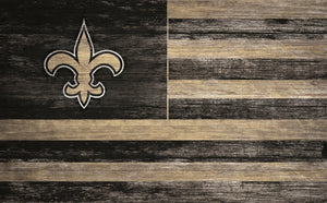 "New Orleans Saints Distressed Flag Sign - 11""x19"""