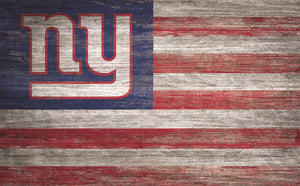 "New York Giants Distressed Flag Sign - 11""x19"""