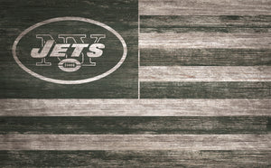 "New York Jets Distressed Flag Sign - 11""x19"""