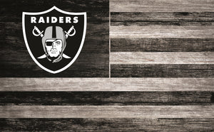 "Oakland Raiders Distressed Flag Sign - 11""x19"""