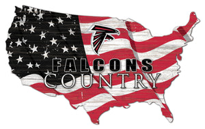 Atlanta Falcons USA Shape Flag Cutout
