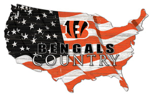 Cincinnati Bengals USA Shape Flag Cutout
