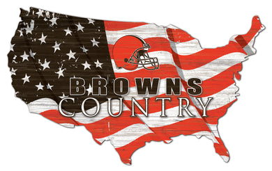 Cleveland Browns USA Shape Flag Cutout