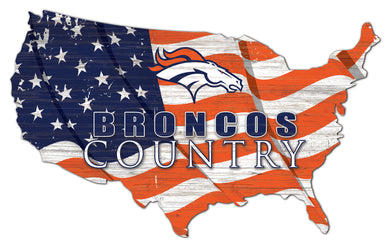 Denver Broncos USA Shape Flag Cutout
