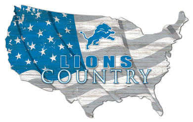 Detroit Lions USA Shape Flag Cutout