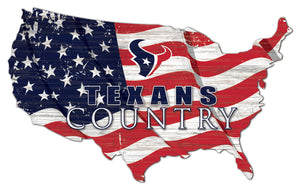 Houston Texans USA Shape Flag Cutout