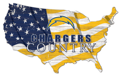 Los Angeles Chargers USA Shape Flag Cutout