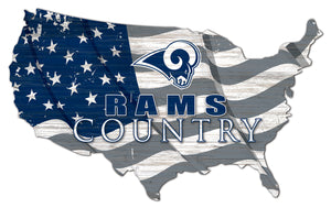Los Angeles Rams USA Shape Flag Cutout