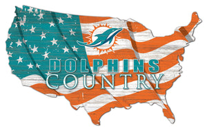 Miami Dolphins USA Shape Flag Cutout