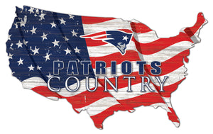 New England Patriots USA Shape Flag Cutout