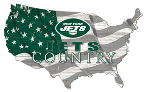New York Jets USA Shape Flag Cutout