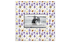 Minnesota Vikings Floral Pattern Picture Frame