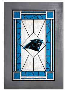 Carolina Panthers Stained Glass Wood Sign
