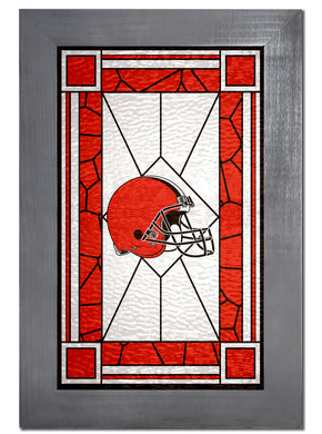 Cleveland Browns Stained Glass Wood Sign