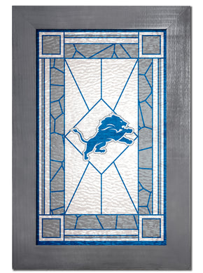 Detroit Lions Stained Glass Wood Sign