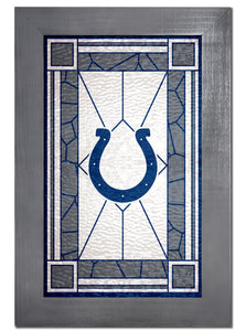 Indianapolis Colts Stained Glass Wood Sign