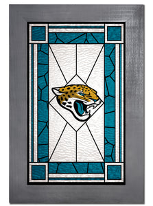 Jacksonville Jaguars Stained Glass Wood Sign