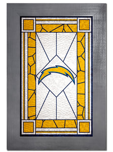 Los Angeles Chargers Stained Glass Wood Sign