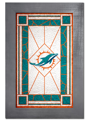 Miami Dolphins Stained Glass Wood Sign