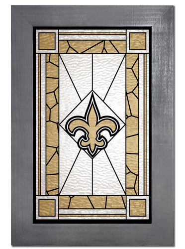New Orleans Saints Stained Glass Wood Sign