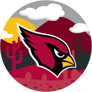 Arizona Cardinals Landscape Circle Sign - 12""