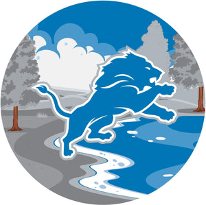 Detroit Lions Landscape Circle Sign