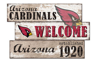 Arizona Cardinals Welcome 3 Plank Wood Sign