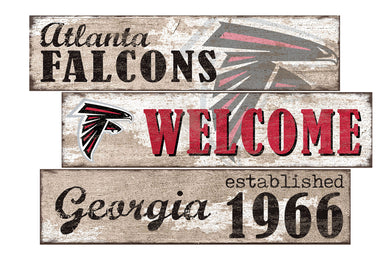 Atlanta Falcons Welcome 3 Plank Wood Sign