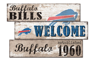 Buffalo Bills Welcome 3 Plank Wood Sign