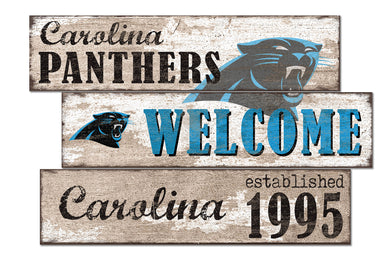 Carolina Panthers Welcome 3 Plank Wood Sign