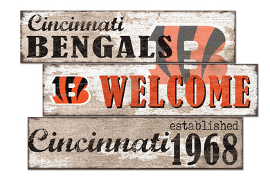 Cincinnati Bengals Welcome 3 Plank Wood Sign