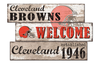 Cleveland Browns Welcome 3 Plank Wood Sign