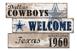 Dallas Cowboys Welcome 3 Plank Wood Sign