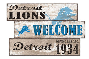 Detroit Lions Welcome 3 Plank Wood Sign
