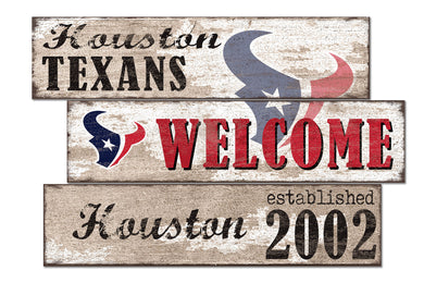 Houston Texans Welcome 3 Plank Wood Sign