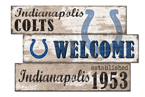 Indianapolis Colts Welcome 3 Plank Wood Sign