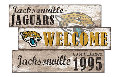 Jacksonville Jaguars Welcome 3 Plank Wood Sign