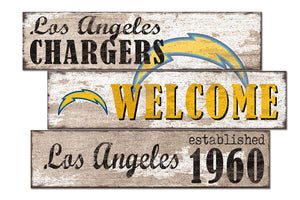 Los Angeles Chargers Welcome 3 Plank Wood Sign