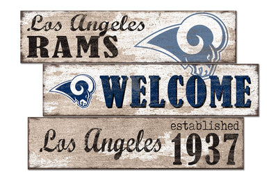 Los Angeles Rams Welcome 3 Plank Wood Sign